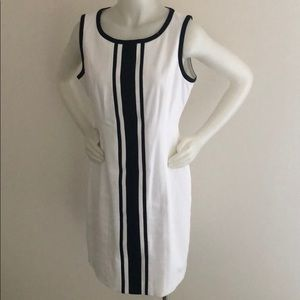 Talbots black and white no sleeve dress
